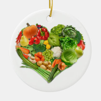 Fruits and Vegetables Heart - Vegan Ceramic Ornament