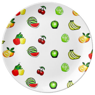 Fruits and Veggies Graphics Food Plate Porcelain Plate