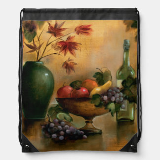 Fruits and Wine with Autumn Hues Drawstring Bag