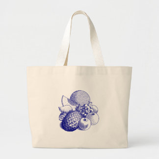 Fruits, fruit bunch pineapple grapes melon apple large tote bag