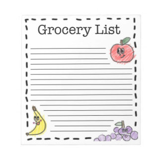 Fruits Grocery List Notepads