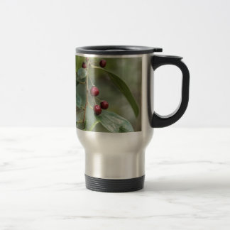 Fruits of a shiny leaf buckthorn travel mug