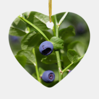 Fruits of the European blueberry Ceramic Heart Ornament