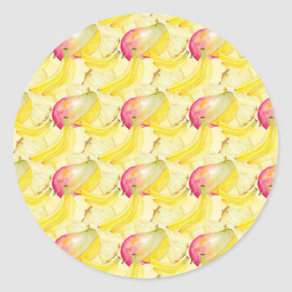 Fruits Pattern Classic Round Sticker