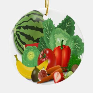 fruits vegetables artichoke banana ceramic ornament
