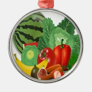 fruits vegetables artichoke banana metal ornament
