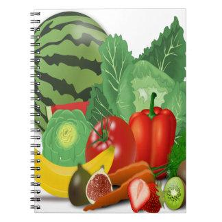 fruits vegetables artichoke banana notebook