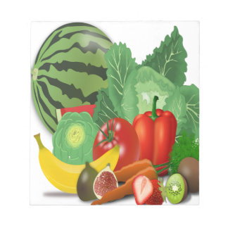 fruits vegetables artichoke banana notepad