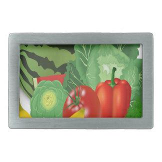 fruits vegetables artichoke banana rectangular belt buckle