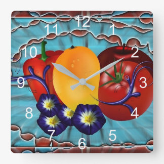 Fruits Vegetables Square Wall Clock