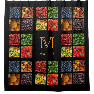 Fruits & Veggies custom monogram shower curtain