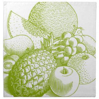 Fruits vintage food healthy retro napkin