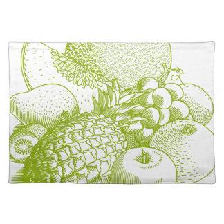 Fruits vintage food healthy retro placemat