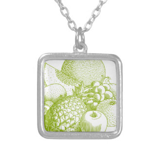 Fruits vintage food healthy retro silver plated necklace