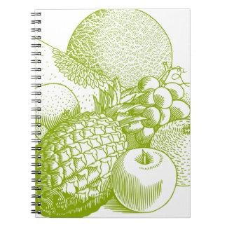 Fruits vintage food healthy retro spiral notebook