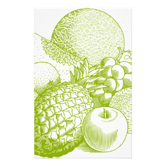 Fruits vintage food healthy retro stationery