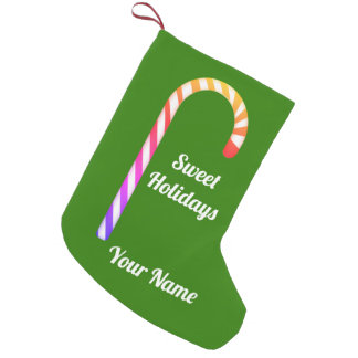Fruity Candy Cane Pattern Add Name Xmas Stocking