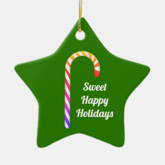 Fruity Candy Cane Sweet Holidays Star Ornament
