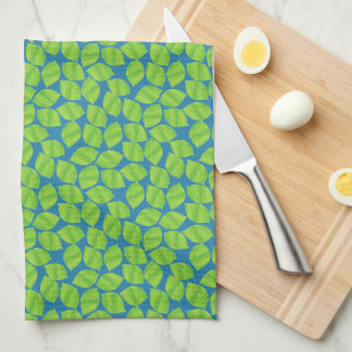 Fruity Green Limes on Blue Background to Customize Kitchen Towel