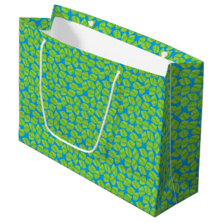 Fruity Green Limes on Blue Background to Customize Large Gift Bag