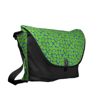 Fruity Green Limes on Blue Background to Customize Messenger Bag