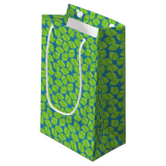 Fruity Green Limes on Blue Background to Customize Small Gift Bag