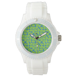 Fruity Green Limes on Blue Background to Customize Wrist Watch