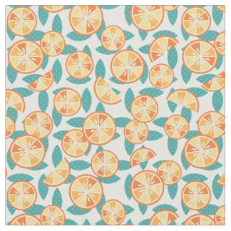 Fruity Retro Orange Slices Pattern Fabric