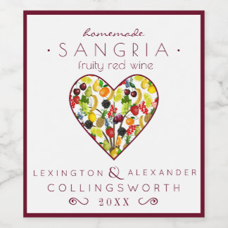 Fruity Sangria Red Wine Label