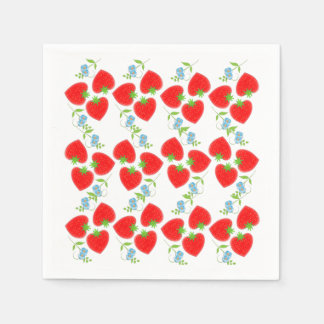 Fruity Strawberries Ditsy Blue Flowers Patterned Paper Napkin