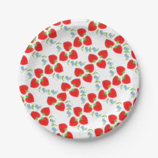 Fruity Strawberries Ditsy Blue Flowers Patterned Paper Plate