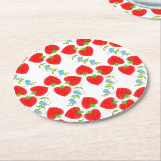 Fruity Strawberries Ditsy Blue Flowers Patterned Round Paper Coaster