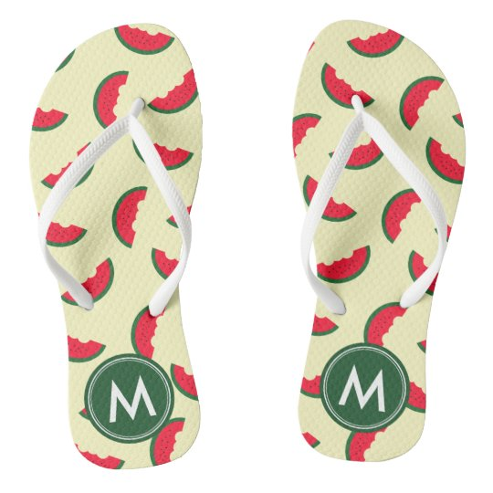 Fruity Summer Red Watermelon Monogram Flip Flops