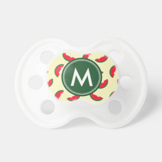 Fruity Summer Red Watermelon Pattern Monogram Pacifier