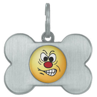 Frustrated Smiley Face Grumpey Pet Tags