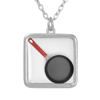 Frying pan silver plated necklace