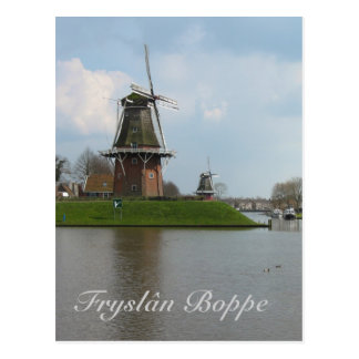 Fryslân Boppe Dokkum Windmill Postcard Kaart