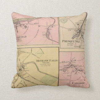 Ft Fairfield, Presque Isle, Caribou Map Throw Pillow