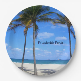 Ft Lauderdale Florida Sand Beach & Palm Trees 9 Inch Paper Plate