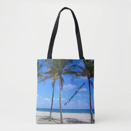 Ft Lauderdale Florida Sand Beach & Palm Trees Tote Bag