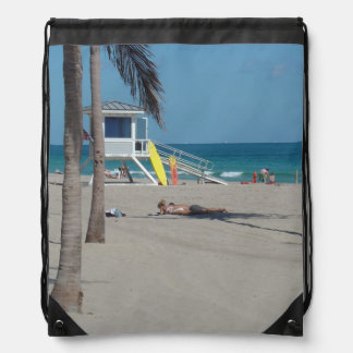 Ft Lauderdale Lifeguard Stand Drawstring Bag