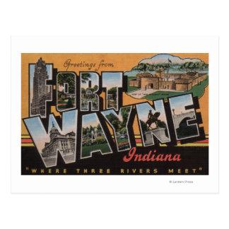 Ft. Wayne, Indiana - Large Letter Scenes Postcard