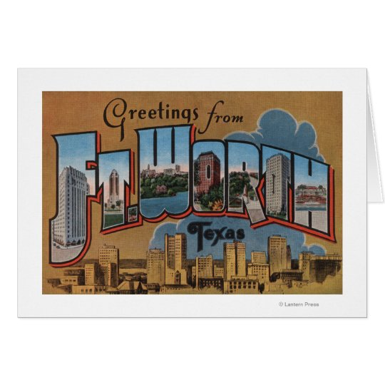 Ft. Worth, Texas - Large Letter Scenes Card
