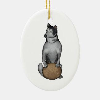 Fu Dog Alaskan Malamute Ceramic Ornament