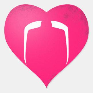 Fu Manchu Mustache Heart Stickers