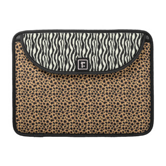 Fuax Cheetah and Zebra Live in Harmony Sleeve For MacBooks