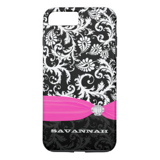 Fuchsi White Plus Any Color Damask Printed Crystal iPhone 7 Plus Case