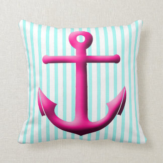 Fuchsia and Aqua Anchor and Stripes Throw Pillow