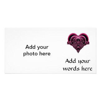 Fuchsia and black fractal heart photo card template