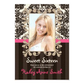 "Fuchsia and Brown Vintage Damask Sweet Sixteen 5"" X 7"" Invitation Card"